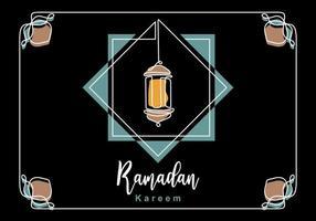 eid mubarak cartão clássico de luxo com lanterna tradicional isolada no fundo preto. mão desenhando um projeto de linha contínua de ramadan kareem. celebração do povo muçulmano.
