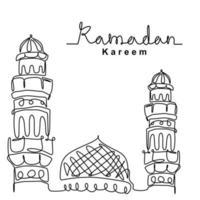 mesquita desenho de linha contínua design minimalista de vetor. feliz eid mubarak, tema ramadan kareem. celebração de feriado islâmico tradicional, religião árabe e ilustração de esboço de cultura