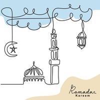 desenho de linha contínua de mesquita com lanterna tradicional vintage, lua e estrela penduradas no céu. tema ramadan kareem isolado no fundo branco. feliz eid mubarak. ilustração vetorial