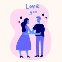 casais de namorados românticos ícones de desenhos animados plana. em pé jovem e mulher apaixonada, segurando a mão um do outro. conceito de dia dos namorados. ilustração de romance em vetor design plano
