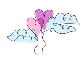 um desenho de linha contínua de dois balões em forma de coração no ar. conceito de cartão de convite de casamento romântico isolado no fundo branco. feliz Dia dos namorados. ilustração vetorial desenhada à mão
