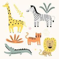 coleção de vetores de animais fofos para crianças. animais da selva com leão, crocodilo, gato, zebra. desenhado à mão gráfico zoo. perfeito para chá de bebê, cartão postal, etiqueta, folheto, panfleto, página, design de banner