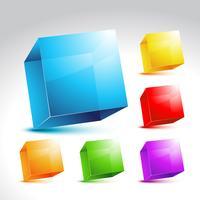 Coleção de cubo colorido vetor