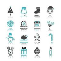 ícones de natal com reflexão vetor