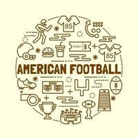conjunto de ícones de linha fina mínima de futebol americano vetor
