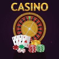jogo de azar de cassino com texto dourado e cartas de jogar e slot de cassino vetor