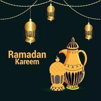 fundo ramadan kareem com lanterna árabe dourada vetor