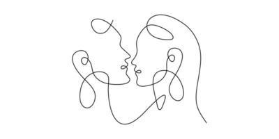 uma arte de linha única desenhada contínua beijando amor, casal, beijo, homem, mulher, amante, rosto. imagem isolada mão desenhada esboço fundo branco. vetor