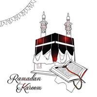 mão desenhar convite de ilustração e plano de fundo da festa iftar vetor