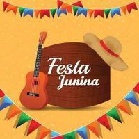 ilustração em vetor festa junina com bandeira de festa colorida e guitarra