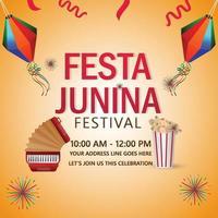 convites festa junina com violão e chapéu vetor