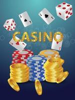 jogo de azar de cassino com cartas e fichas vetor