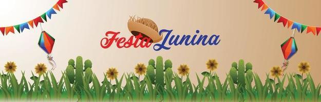 banner festa junina evento com bandeira colorida criativa vetor