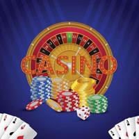 ilustração em vetor jogo de azar de cassino com slots e fichas de cassino