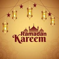 festival islâmico ramadan kareem com lanterna árabe vetor