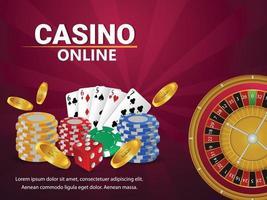 cartão de felicitações de jogos de azar de cassino com cartas de jogar e fichas vetor
