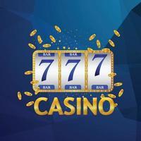 fundo realista de casino com chip de cartões e slot vetor