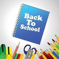ilustração vetorial fundo com elemento escolar com bolsa escolar vetor