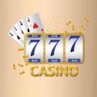 slot de casino com fichas de cartas e cartas de jogar vetor