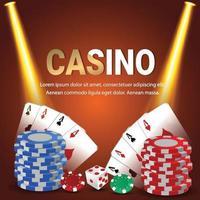 jogo de jogo de casino online com cartas de jogar e chip de casino vetor