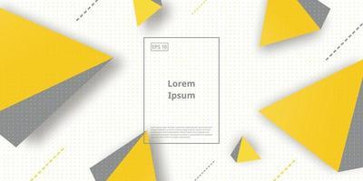 fundo moderno com triângulo amarelo isolado no fundo branco vetor