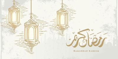Ramadan Kareem cartão com desenho de lanternas douradas penduradas e caligrafia árabe significa Holly Ramadan. mão desenhada esboço elegante design isolado no fundo branco.