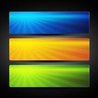conjunto de vetores de três banner colorido