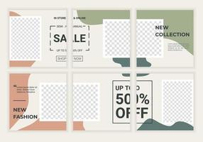 conjunto de banner quadrado editável para modelo de anunciante. perfeito para anunciar e marcar uma loja de moda, loja de maquiagem, loja de cuidados com a pele. ilustração vetorial fundo com moldura de cor pastel