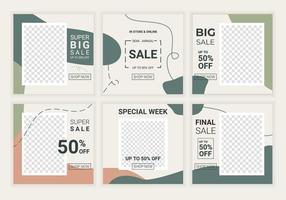 6 pacote de banner quadrado de venda. modelo minimalista moderno do estilo do projeto da escova do sumário do quebra-cabeça com cor pastel. adequado para anúncios promocionais em postagens de feed de mídia social. ilustração vetorial
