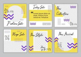 6 conjunto de coleção de modelo de banner quadrado editável com combinação de cor amarela, roxa e branca de fundo com forma de linha listrada. banner promocional da web de venda de moda para postagem em mídia social