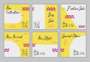 Olá, venda com desconto de verão especial. banner background design template set pack collection. promoção de liquidação com desenhos coloridos de amarelo e rosa para a loja. fundo da moda do vetor