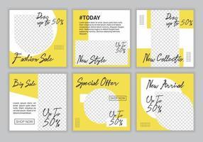 slides quadrados modelo de banner de postagem de mídia social moderna e editável exclusivo. cor de fundo amarelo e branco com forma de linha de listra. venda de moda e promoção de desconto. ilustração vetorial. vetor