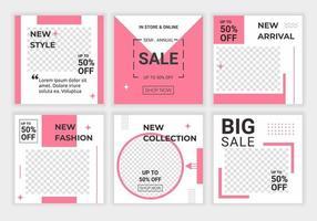 lindo conjunto feminino de quadrados com modelos de plano de fundo de mídia social horizontal e circular para postagens e banners. feed de beleza com cor rosa e branco. bom para venda em redes sociais, banners na web