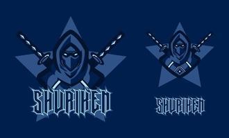 Ninja assassino mascote jogo de logotipo para ilustração de equipe de esporte e e-sport. cavaleiro ninja com duas espadas em fundo azul. elemento de design de modelo de jogador profissional para equipe de equipe de jogos de e-sport de logotipo vetor