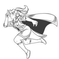 uma super-heroína mulher. jovem bonita e forte em um traje elegante, voando com pose engraçada. ilustração vetorial no estilo de quadrinhos vintage retro pop art isolado no fundo branco