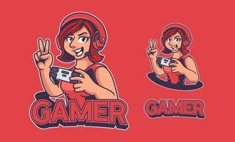 logotipo de e-sport de mascote de mulher vermelha com fone de ouvido e segurando o joystick. logotipo de e-sport de mulher cavaleiro isolado sobre fundo vermelho. linda garota gamer para a equipe de jogos de e-sport. ilustração vetorial vetor