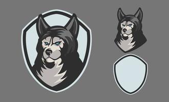 coleção logotipo de lobo profissional para uma equipe de esporte isolada em fundo cinza. O logotipo, símbolo e ícone do esporte com o tema lobo. ilustração vetorial estilo de conceito para impressão de crachá, emblema e camisetas. vetor