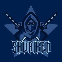 logotipo do mascote do cavaleiro escuro para jogos de e-sport e equipe de e-sport. Assassino ninja legal com elemento de design de logotipo de modelo de duas espadas. guerreiro ninja, personagem de jogador profissional. ilustração vetorial vetor