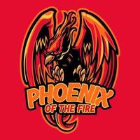 Phoenix em design de logotipo de personagem de mascote de fogo. design do logotipo do mascote da fênix vermelha para o time de esporte eletrônico. ilustração vetorial de mascote de pássaro da mitologia para games, esport, youtube, streamer e twitch vetor