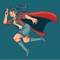 ilustração dos desenhos animados de uma mulher super-herói. jovem bonita e forte em elegante traje colorido voando com pose engraçada. ilustração vetorial no estilo de quadrinhos vintage retro pop art