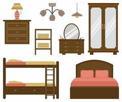conjunto de ícones e elementos interiores de design moderno plana de vetor. design de móveis para quarto. cama, abajures, armário, penteadeira, armário de madeira, mesa. ilustração vetorial em um fundo branco vetor