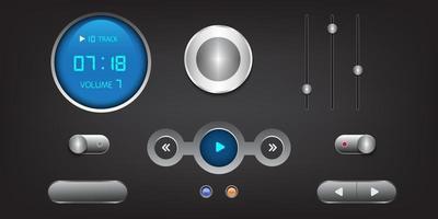 elementos de interface de usuário de alta tecnologia. botões, interruptores, barras, botões liga / desliga, controles deslizantes. vetor