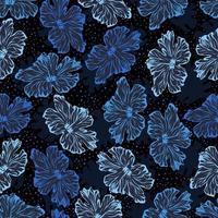 padrão sem emenda com hibisco azul. estampa tropical para tecido. vetor