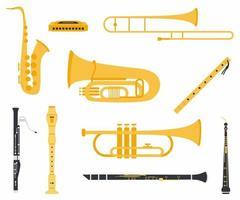 conjunto coleção de instrumentos musicais com diferentes tipos, incluindo clarinete, oboé, saxofone, flauta, trompete, trombone, gaita, tuba, fagote e flauta de madeira. vetor plano de instrumento musical