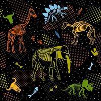 ossos e contornos de vários animais pré-históricos. padrão sem emenda com esqueletos. impressão para tecido. vetor