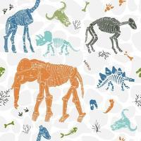padrão sem emenda com esqueletos de dinossauros. atritos de witn padrão sem emenda. impressão para tecido. vetor