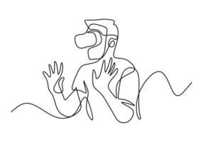 homem de óculos dispositivo de realidade virtual contínua um desenho de linha. um cara fingindo tocar no botão enquanto usava capacete de realidade virtual, isolado no fundo branco. ilustração vetorial vetor