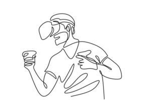 desenho de linha contínua do homem em óculos vr, segurando o controlador de movimento. um homem jogando jogos virtuais mão desenhada linha arte doodle design minimalista. tecnologia, dispositivo, jogos, futuro, tema visual vetor