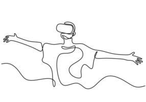 um desenho de linha contínua de um jovem usa óculos de realidade virtual para jogar. um homem em posição de cabeça ergueu os olhos e abriu os braços enquanto usava realidade virtual. ilustração vetorial vetor