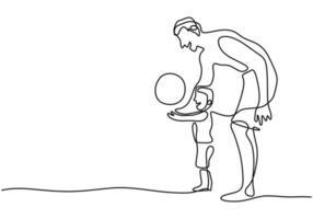 um único desenho de linha de jovem pai com filho jogando futebol na praia. um pai brinca com o filho nos feriados. feliz pais aprendendo conceito mão desenhada arte design minimalista vetor